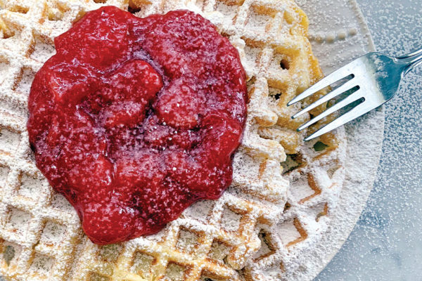 Fluffy Homemade Waffles with Strawberry Sauce