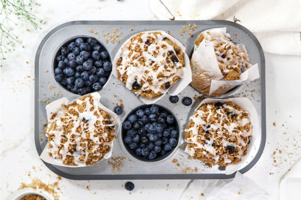 A Bright Moment: Vegan Bakery-Style Blueberry Coffee Cake Muffins